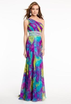 Printed Chiffon One Shoulder Dress   Camillelavie.com