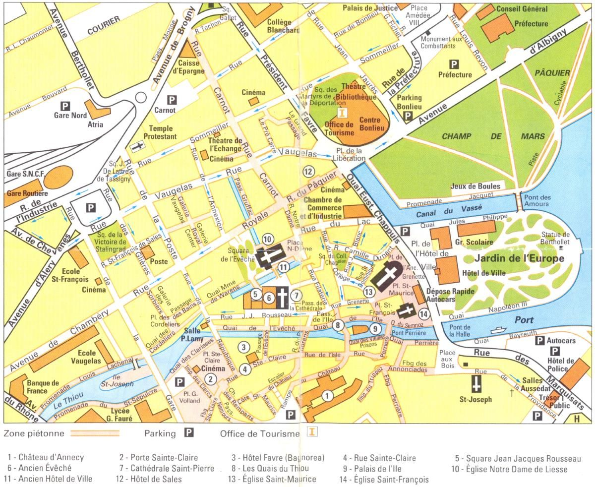 Mappa di Annecy Cartina di Annecy Luoghi da visitare Pinterest