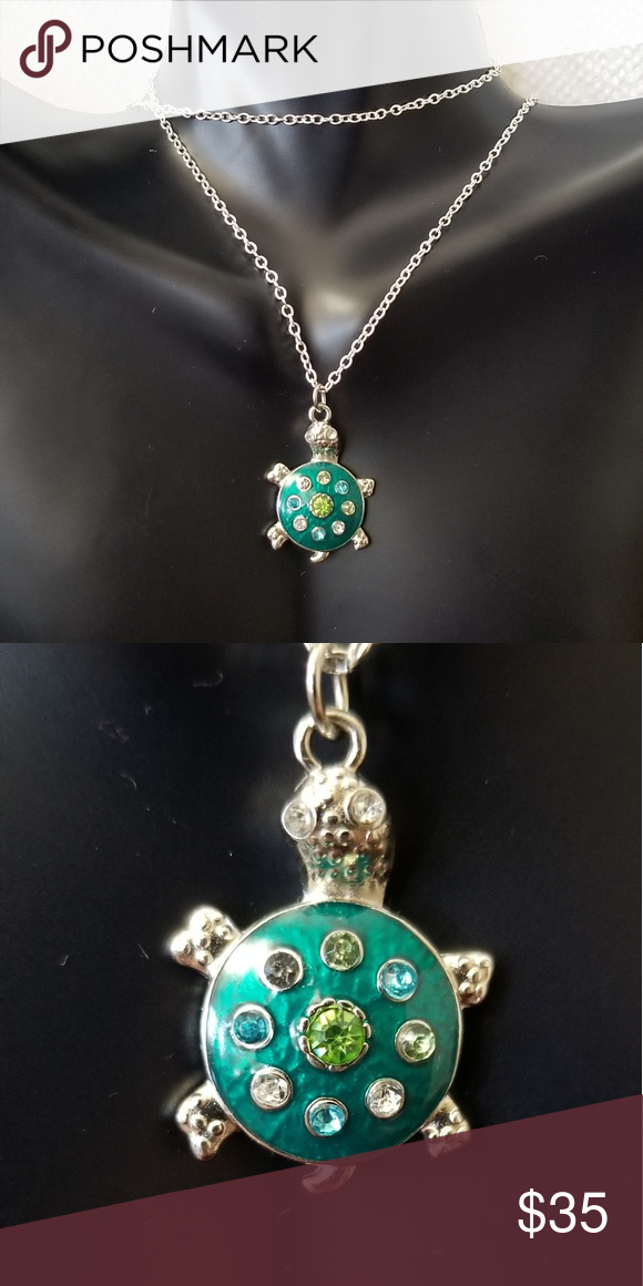 Mini Blue Green Rhinestone Turtle Charm Necklace 22 inch 925