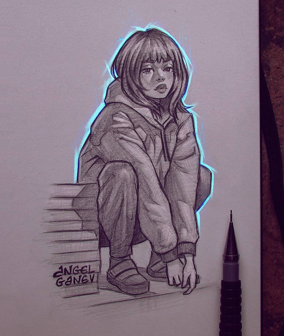 "Angel Ganev on Instagram: ""Blue Aura~😍✨ Pencil sketch wirh some color ☺️ I like that it kinda came off having a Billie Eilish vibe 🙈😂 . Trying out a more chaotic…"""