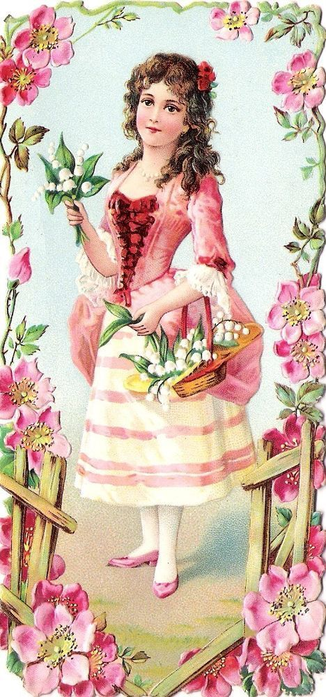 Oblaten Glanzbild scrap die cut chromo Kind child Lady Dame femme 15cm Wild Rose
