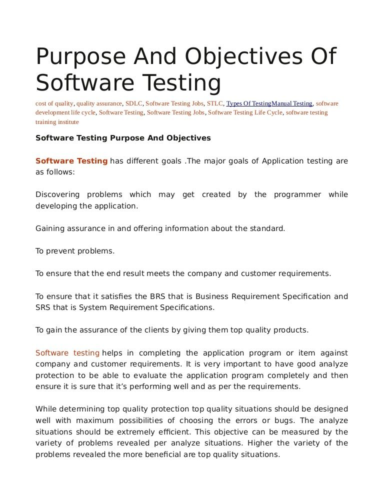 Software Tests Performed To Ensure That The Completed Program - Software testing requirements