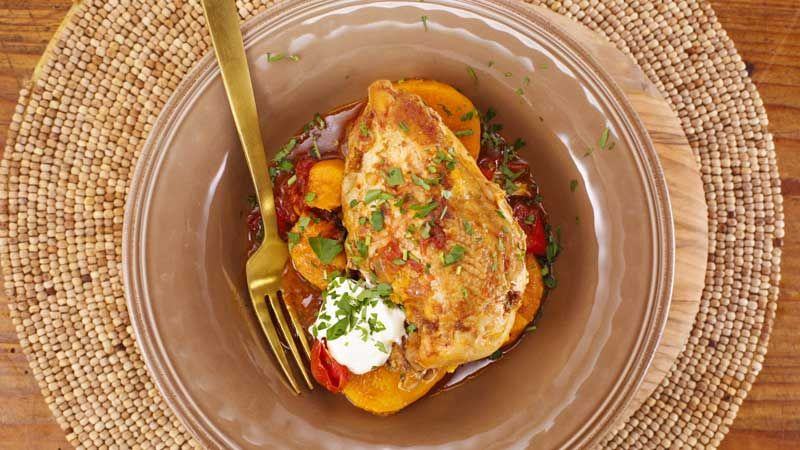 Chicken with Peppers & Squash  Chef used Sweet Potatoes in recipe on the show. Can cook in oven @175° for the # of hours