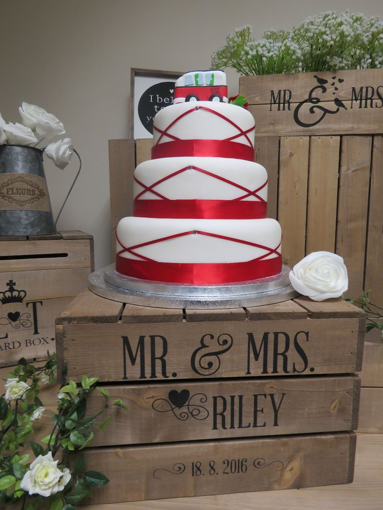 Personalised Rustic Wedding Cake Stand Vintage Wooden Crate In Home Furniture DIY Supplies Stands Plates