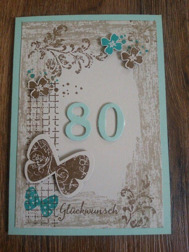 Stampin up - timeless textures  - GlückwunschKarte zum 80. Geburtstag