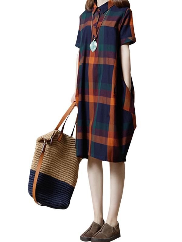 2b268866d316a Women Casual Loose Plaid Button Turn-down Collar Side Pockets Shirt Dress  Plaid