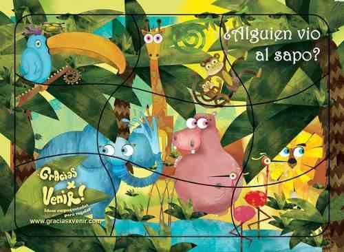 Gracias x venir! Regalá imaginación!  Souvenir Rompecabezas selva imantada. Para armar y encontrar al sapo escondido. Ideal eventos y cumpleaños infantiles.
