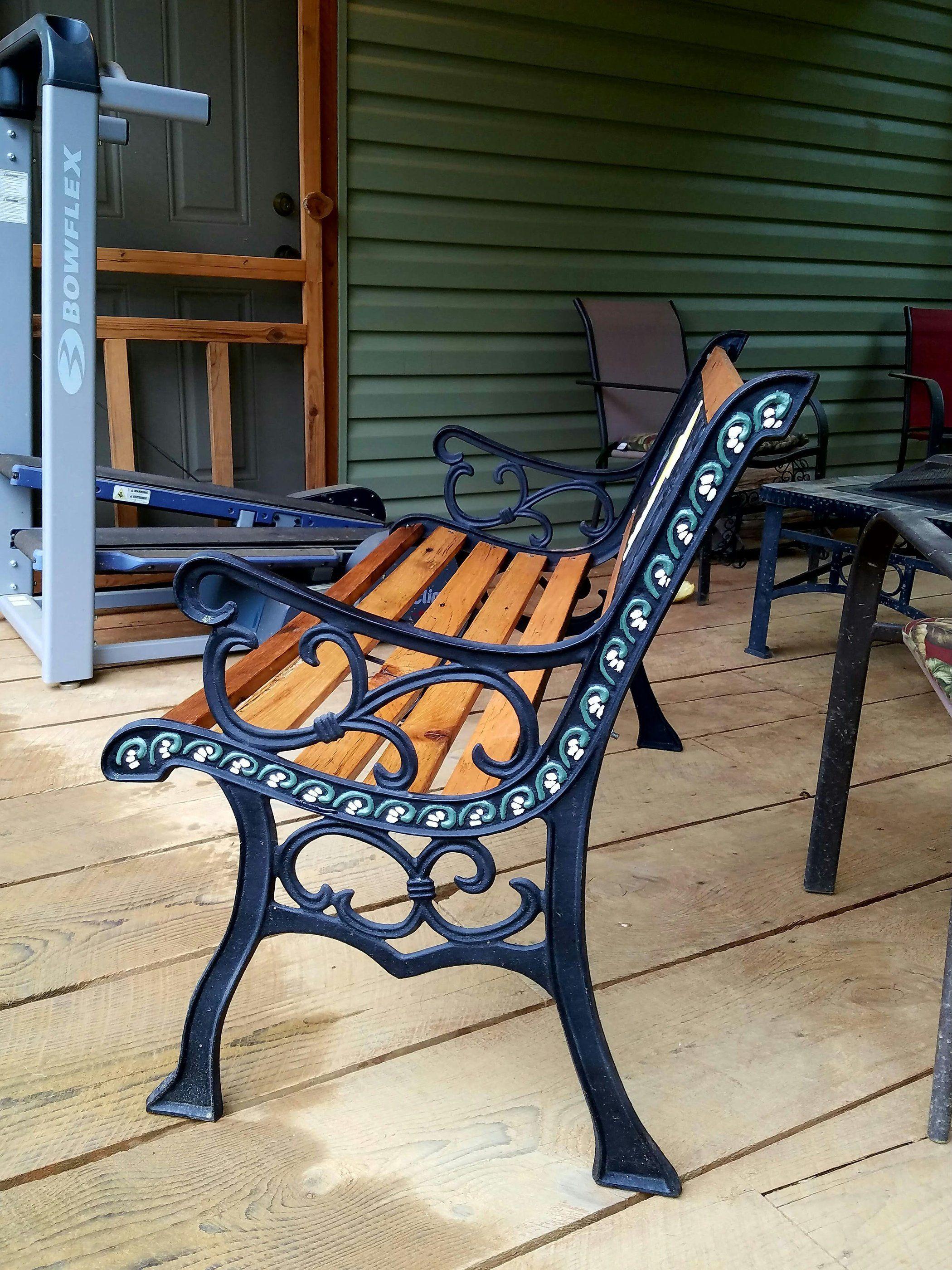 Restored Vintage Cast Iron Angel Garden Bench Cast Iron Garden Bench Garden Bench Diy Wrought Iron Bench