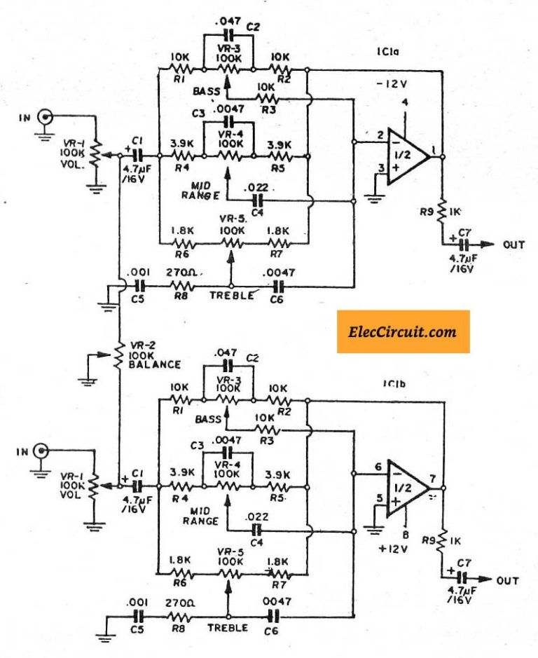 5 (bass mid treble) Tone control circuits projects using