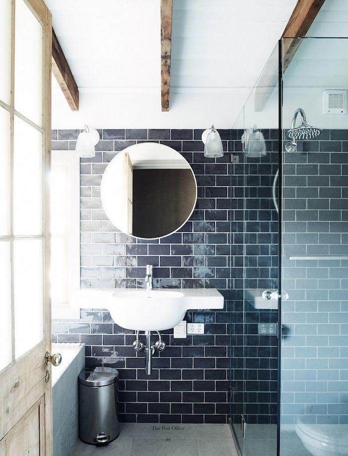Color Spotlight Navy Blue Blue Bathroom Tile Subway Tiles Bathroom Masculine Bathroom Design