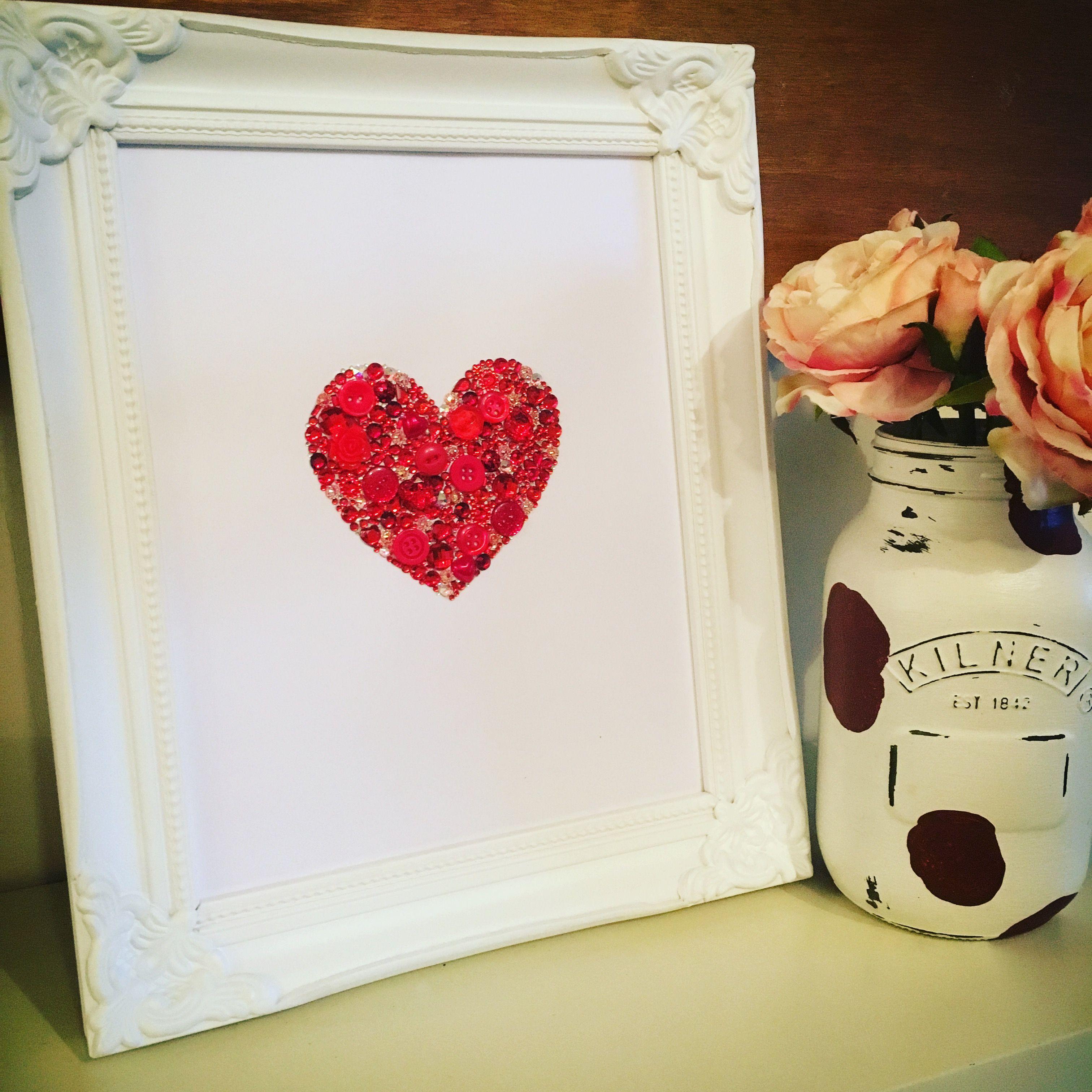 Valentines Bedroom Ideas swarovski crystal / button frame. button art. love heart. button