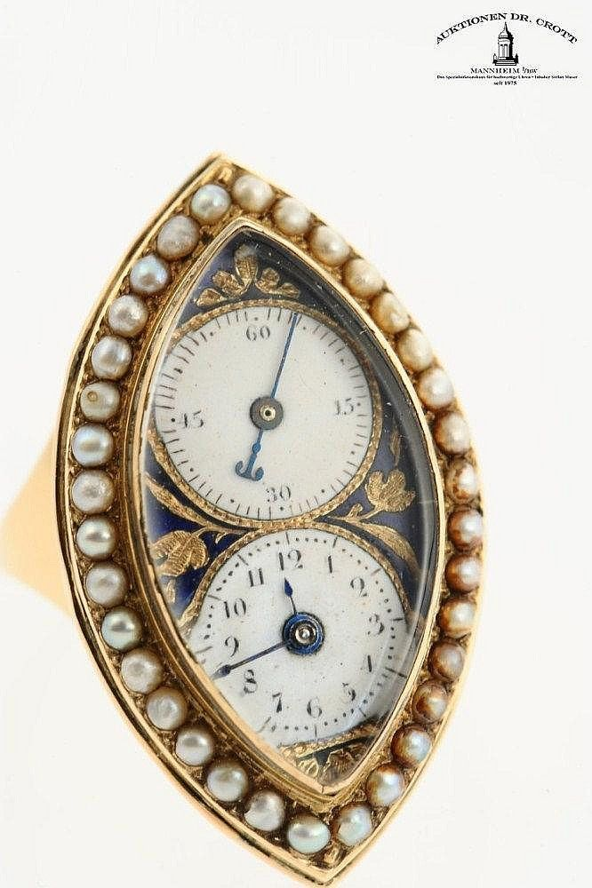 c1850 An extraordinary, navette shaped half pearl-set ring watch. Swiss, 31 x 18 x 8 mm, 11 g, circa 1850  Est: €9,000 - €11,000 Passed