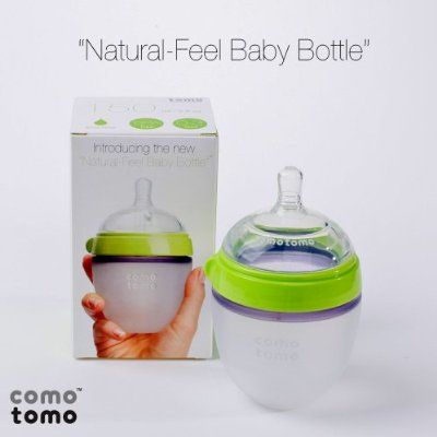 Comotomo Natural Feel Baby Bottle Single Pack, Green, 5 Ounces