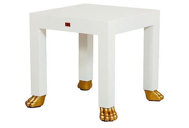 Small White Side Table For Nursery: Gold Foot Side Table, White On OneKingsLane.com. OMG, I