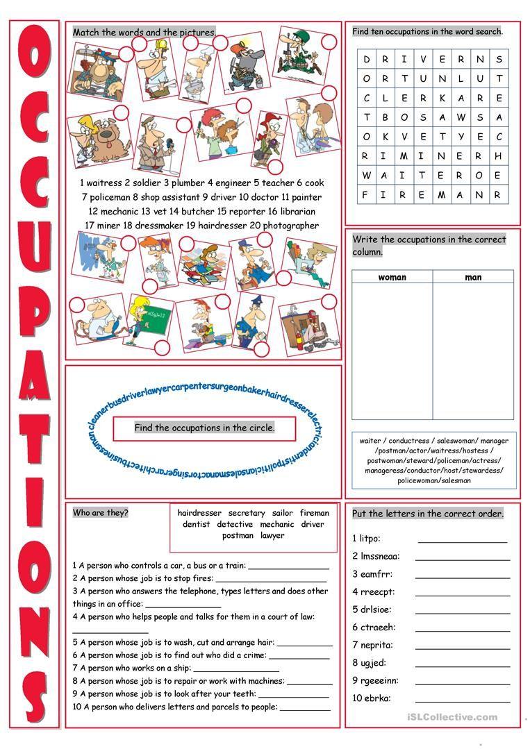 Occupations Vocabulary Exercises English Esl Worksheets Francuzskij Alfavit Alfavit Anglijskij [ 1079 x 763 Pixel ]