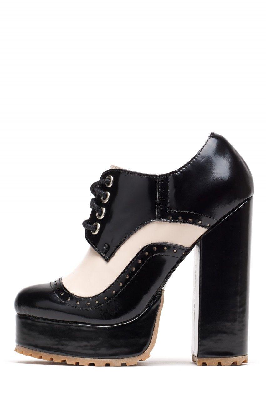 Jeffrey Campbell Shoes POMEROY Platforms in Black Ivory Box Combo