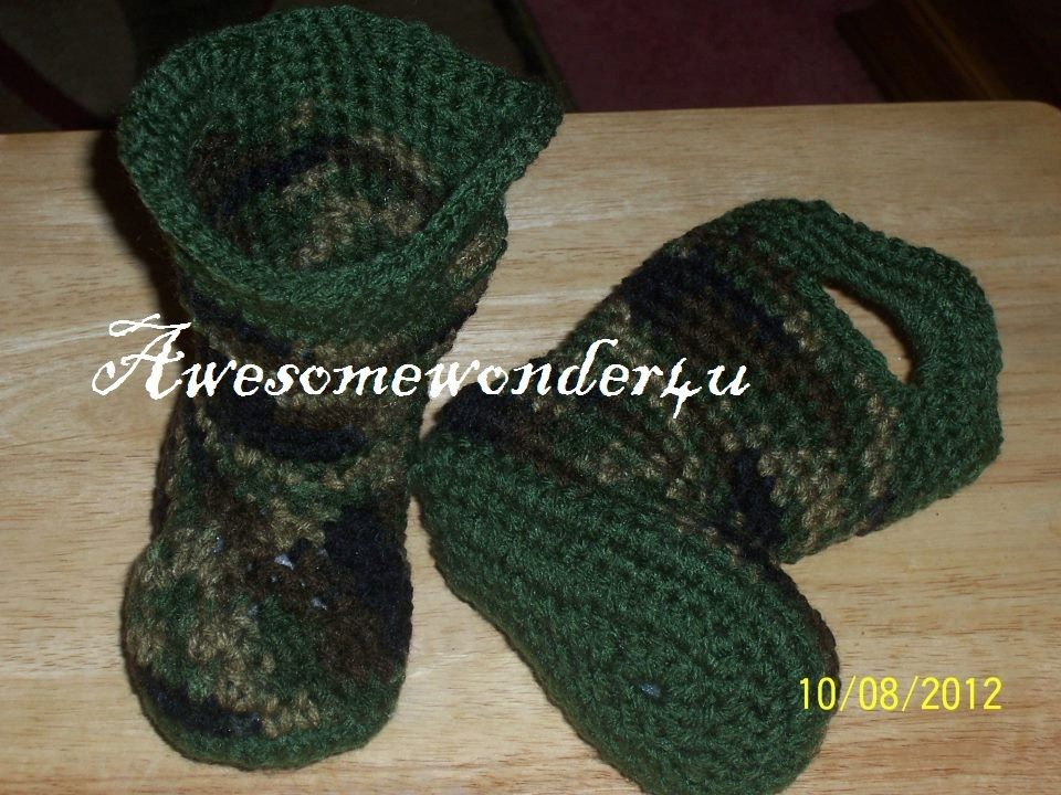 Baby Camouflage Boots Baby Booties MADE TO by awesomewonder4u, $22.00
