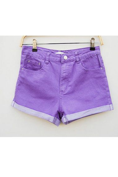 #Romwomen Candy Color Turn-up Cuff Denim Shorts
