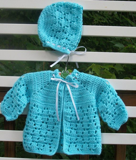 Crochet Baby Sweater Set 3 To 6 Mo Ready To Ship