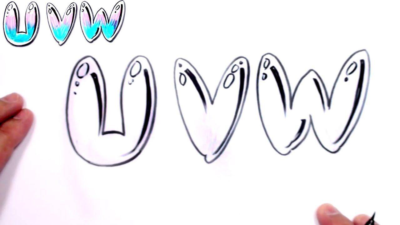 Graffiti letters alphabet bubble letters alphabet u v w