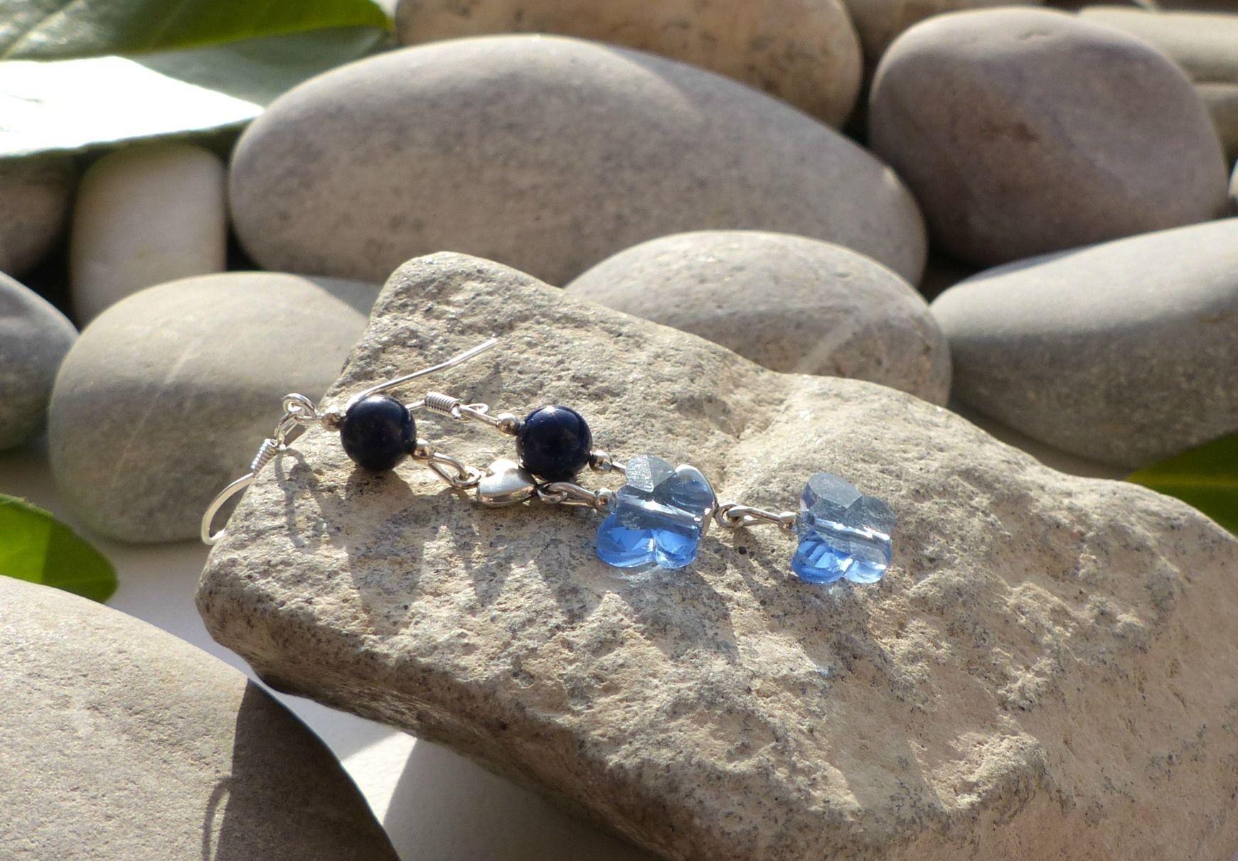 ★Idée bijoux fêtes★ Boucles d'oreilles en lapis-lazuli, boucles lapis-lazuli, boucles d'oreilles papillons, boucles coeurs : Boucles d'oreille par lapassiondisabelle