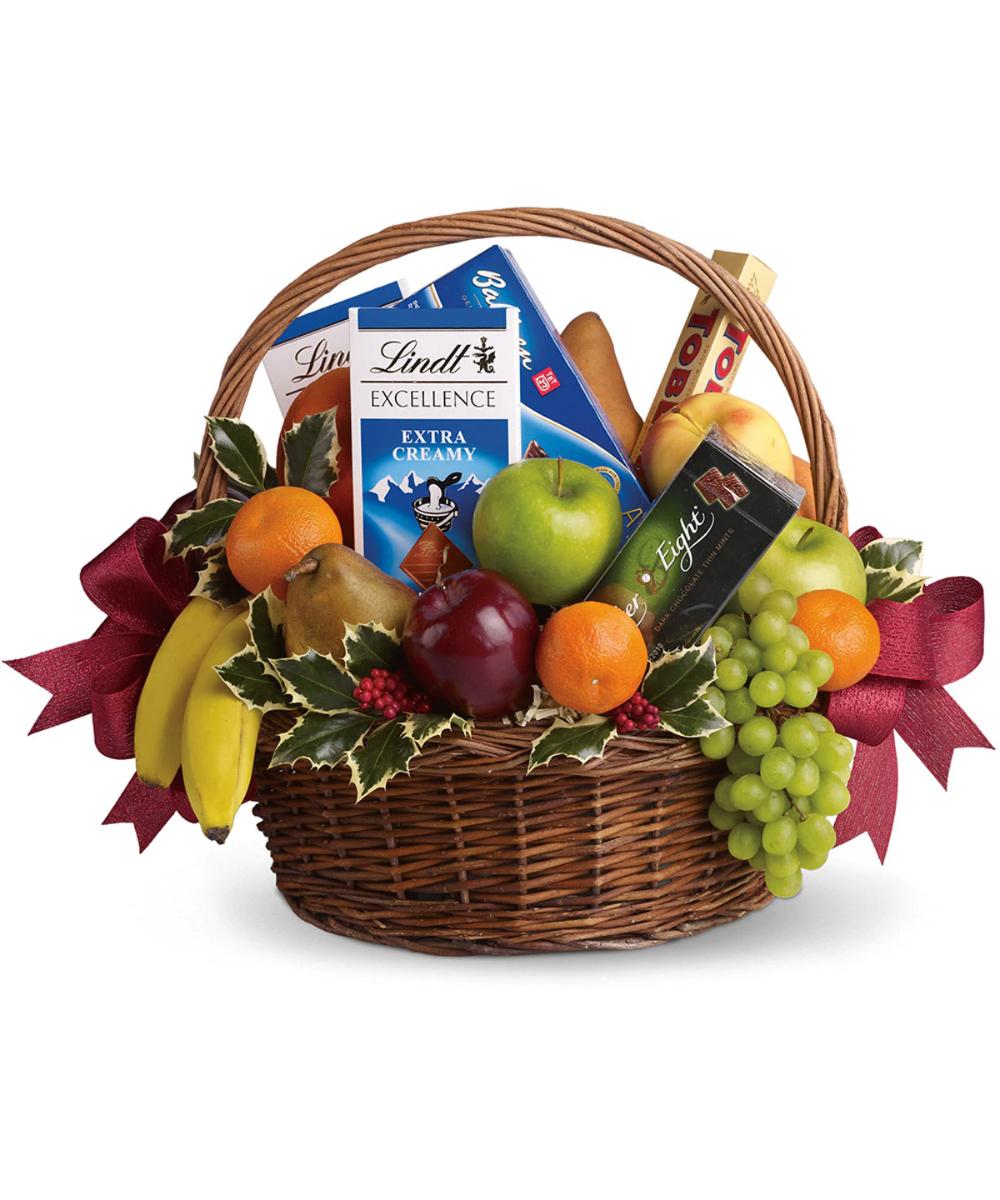Fruits And Sweets Basket Fruit Gifts Fruit Basket Gift Christmas Baskets