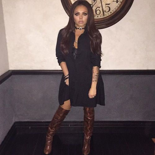 Jesy Nelson Black Dress Boots
