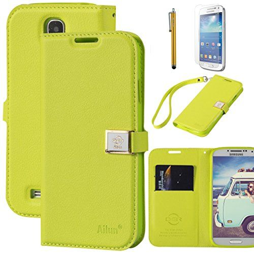 Galaxy S4 Case, By Ailun,Wallet Case,PU Leather Case,Credit Card Holder,Flip Cover Skin[YellowGreen]with Screen Protect and Styli Pen