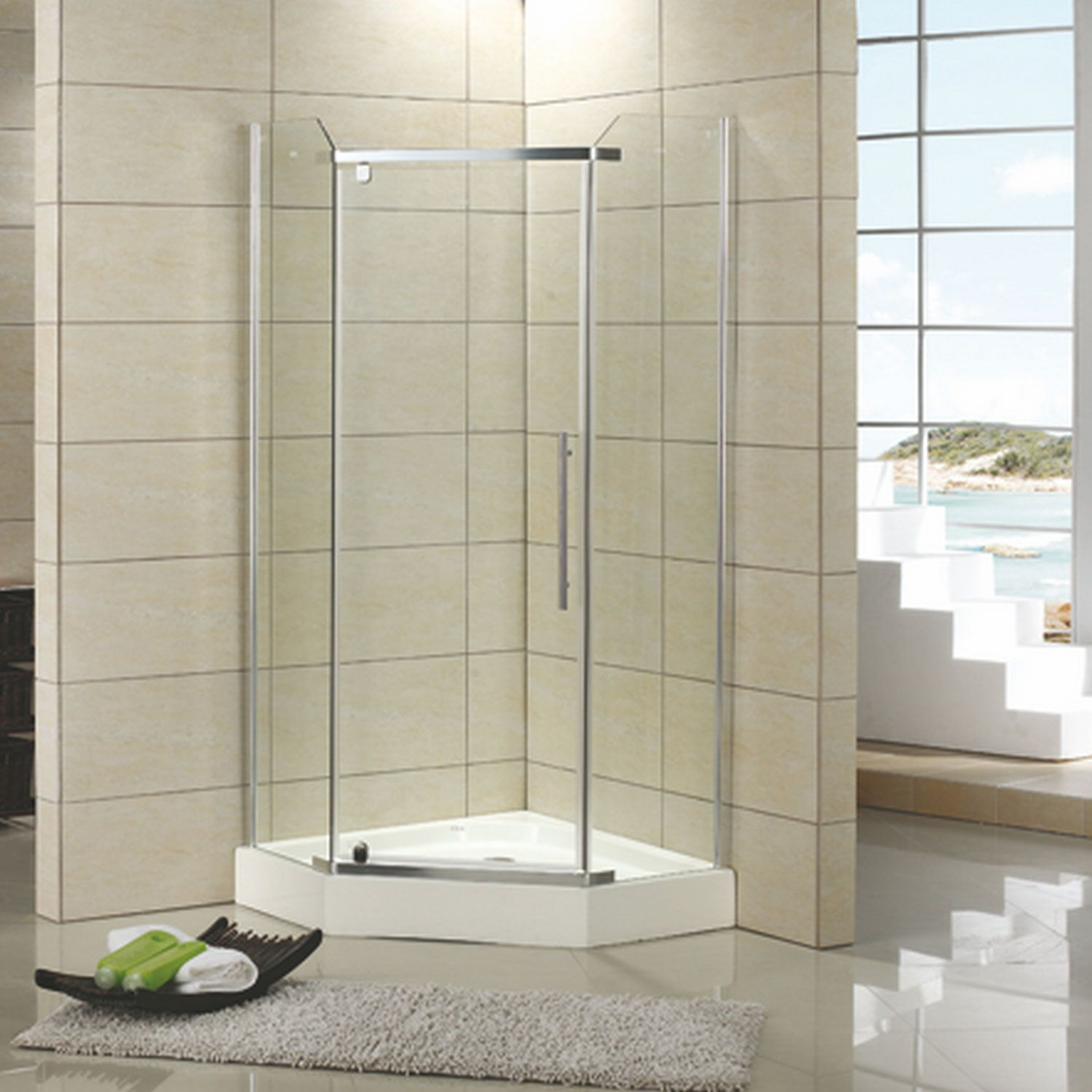 42 X 42 Walters Corner Shower Enclosure With Tray Brushed Nickel Corner Shower Enclosures Corner Shower Small Bathroom With Shower