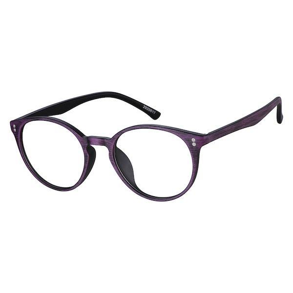 3428539f1e3 Zenni Round Prescription Eyeglasses Purple Woodgrain TR 2020617 in ...