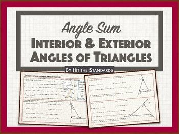 Get your students thinking with this triangles interior  exterior angles of worksheet in exercise  will fill each blank also angle sum hit the rh pinterest