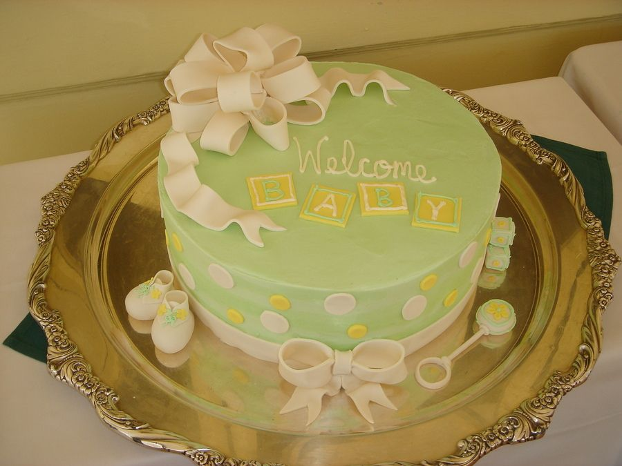 Baby Shower Cakes Green And Yellow Baby Shower Green Yellow Theme