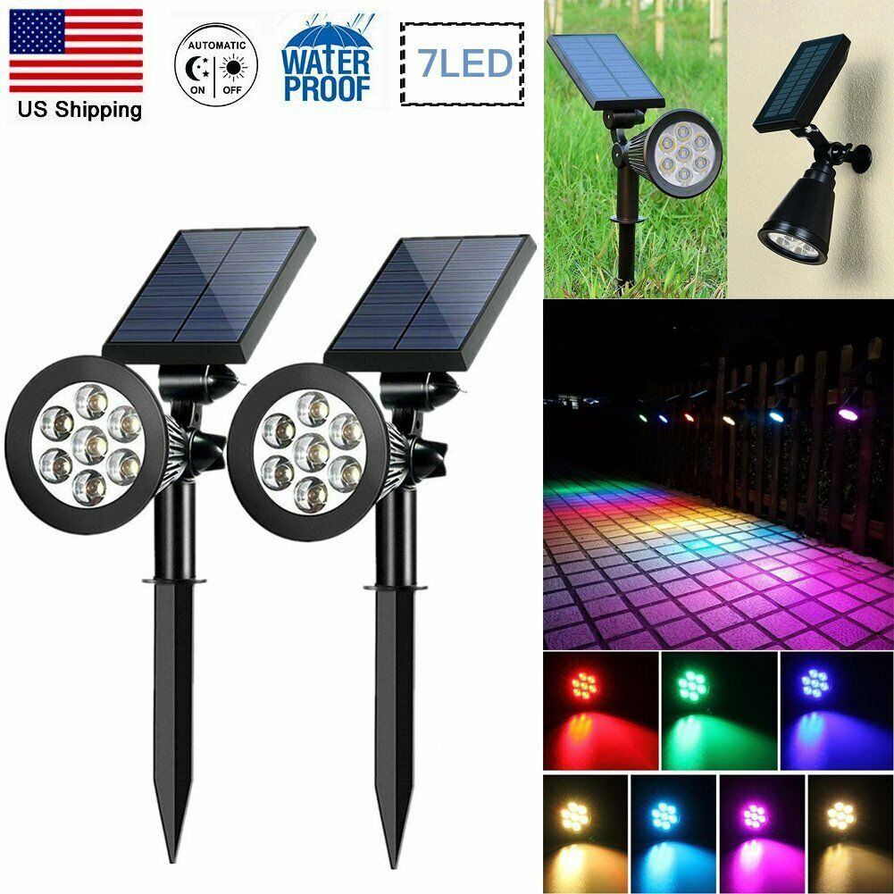 Details About 7 Led Solar Powered Spot Light Color Changing Outdoor Garden Path Wall Lamp Ip65 In 2020 Solar Lamp Solar Wall Lights Outdoor Solar Lights