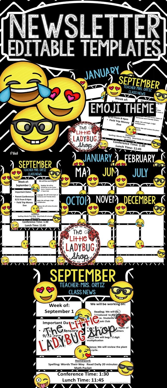 Emoji Theme Monthly  Weekly Newsletter Template Editable  Class