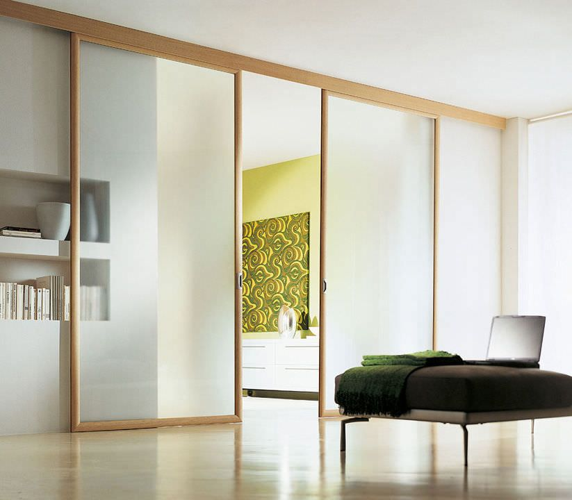 Porte d 39 int rieur coulissante en bois double milo movi salle a manger doors double - Porte coulissante salle a manger ...