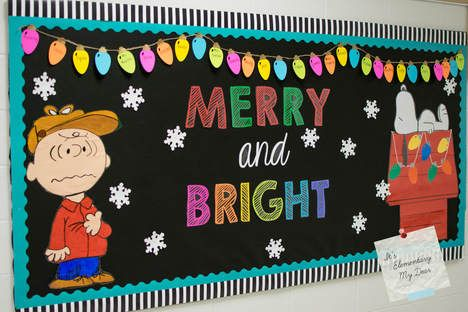 Christmas bulletin board, Winter Bulletin Board, Snoopy bulletin board, bulletin boards through the year, make bulletin boards easy #decemberbulletinboards