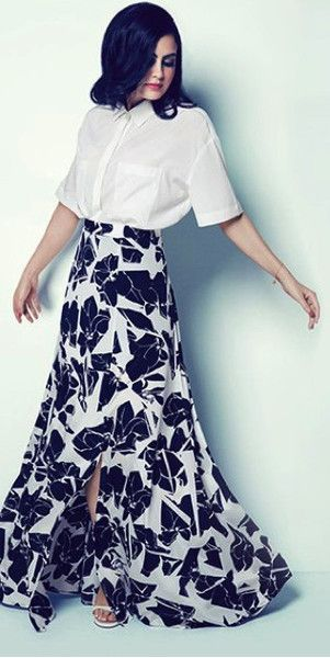 Stunning black and white floral print maxi skirt from DKNY 2014 Ramadan Collection available to purchase only at Mode-sty
