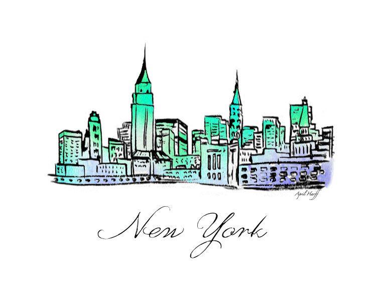 New York City Skyline Watercolor Print Wall Art by