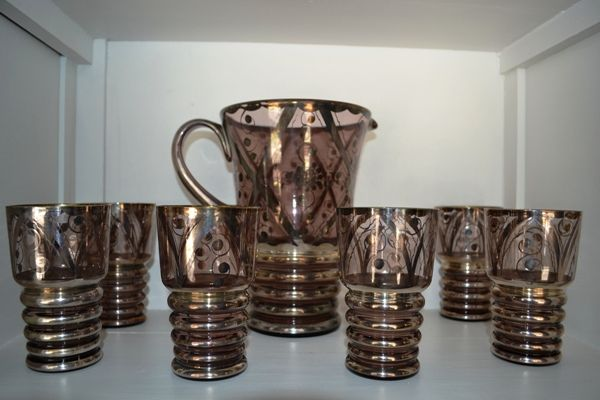 Coordinato Bibita Vintage vetro e argento '60 con Caraffa