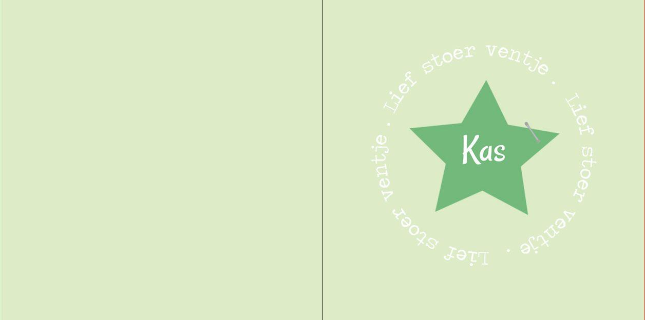 Geboortekaartje: Hip licht groen met ster - voorkant