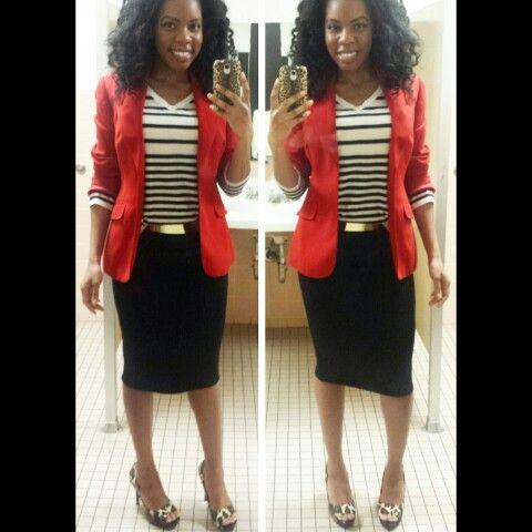Blazer, Striped Top, Pencil Skirt, Gold Belt, Animal Print Heels