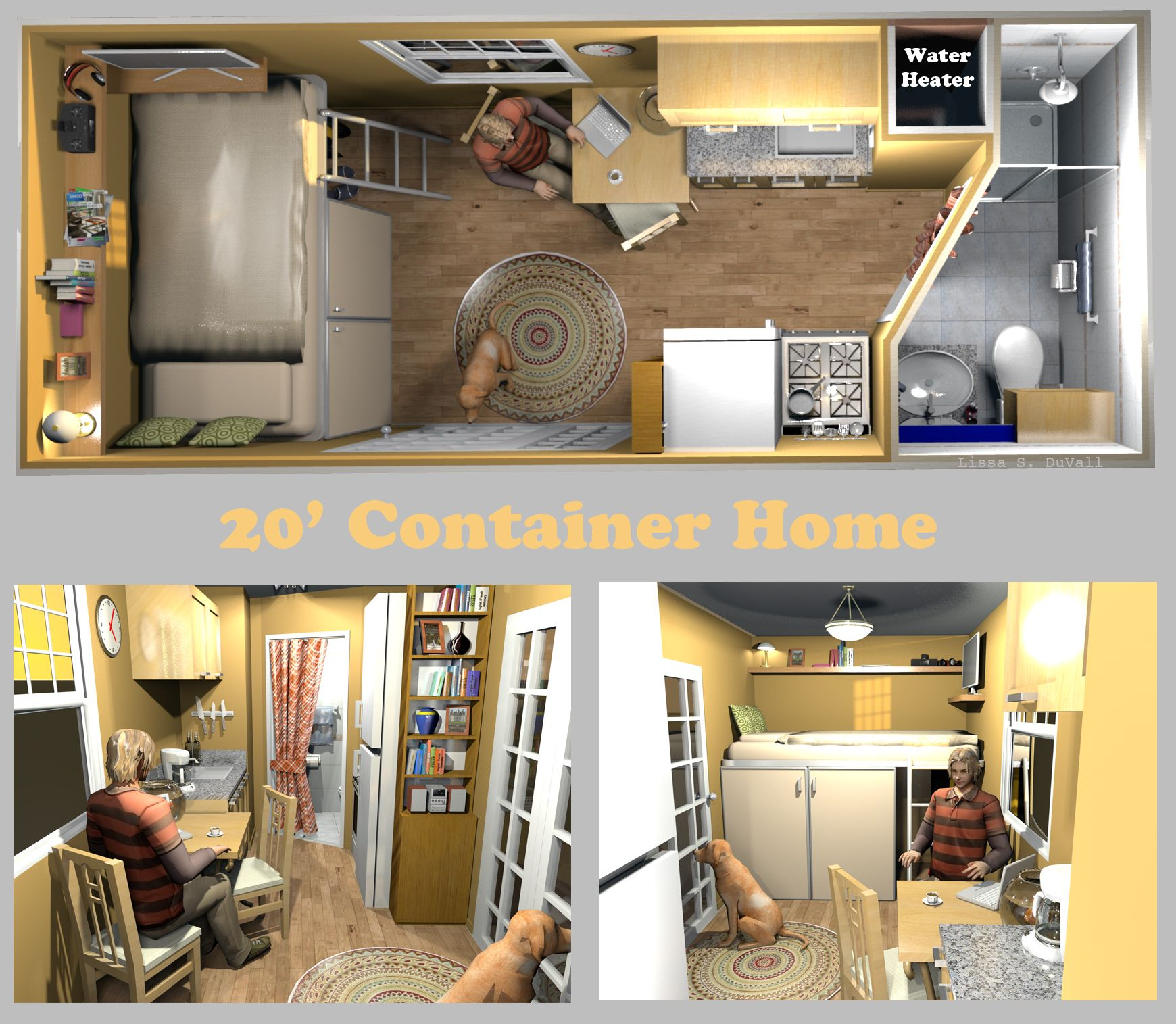 A very space efficient floor plan for a container home. Container ...