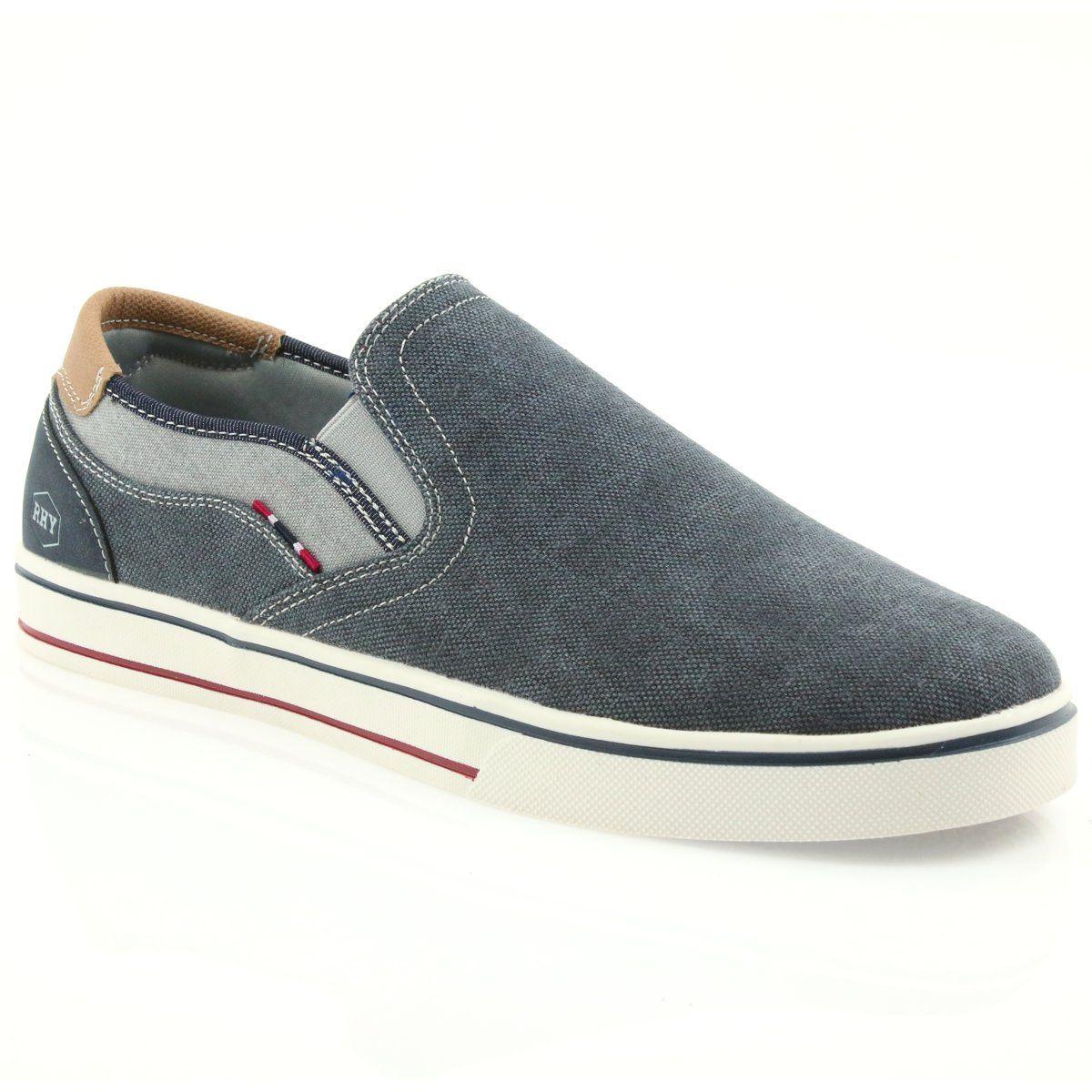 American Club Trampki Tenisowki Buty Meskie Wsuwane Rh13 Granatowe Sneakers Shoes Slip On Sneaker