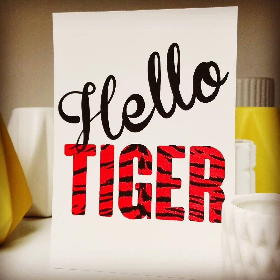 Hello TIGER!  #new #postcard #helloTIGER #tijger #hello #tigerfont #messagetoself #justarrived #tiger #stripes #font #1973 #livinglounge