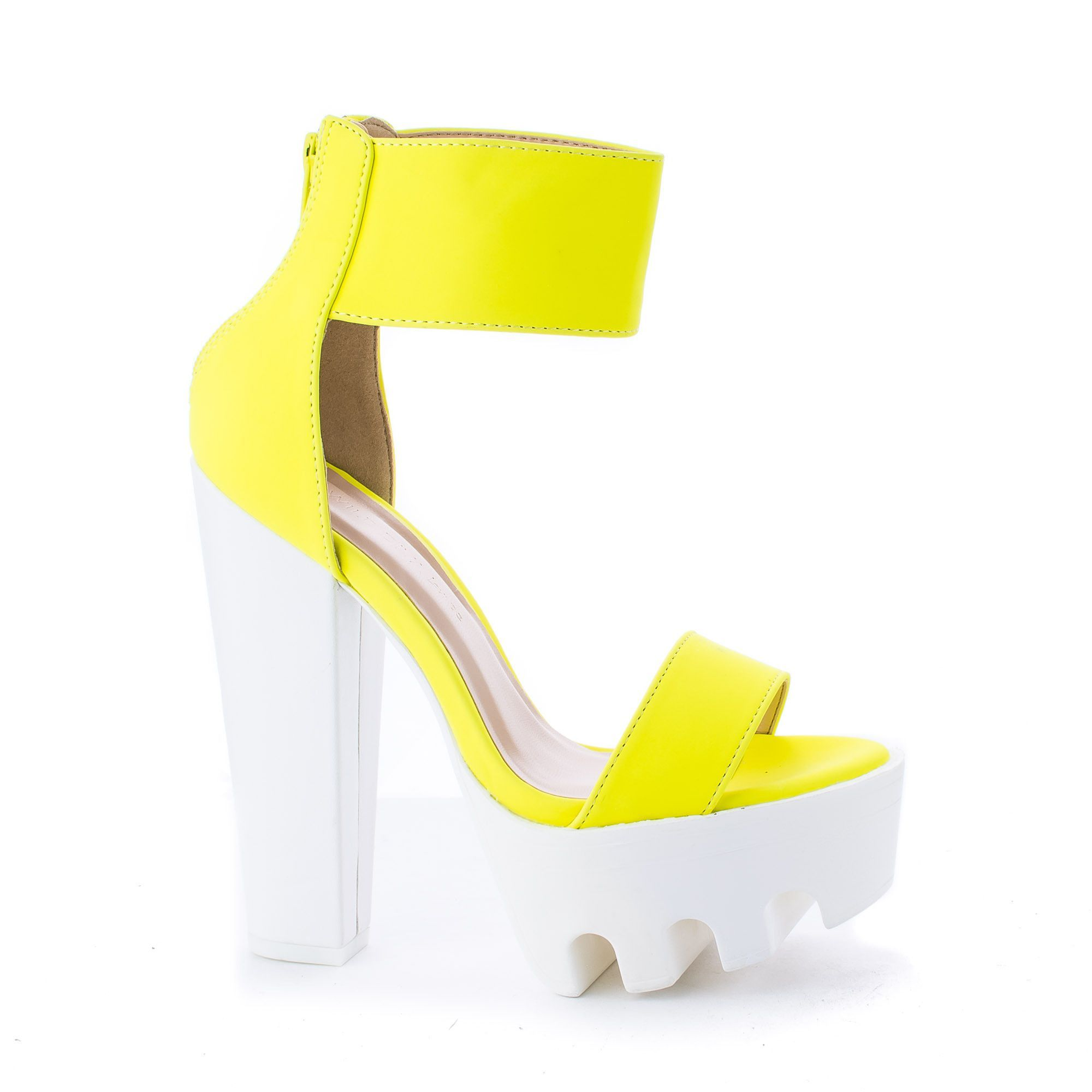 Vive04 Neon Yellow nubuck Peep Toe Dress Chunky Lug Platform Thick ...
