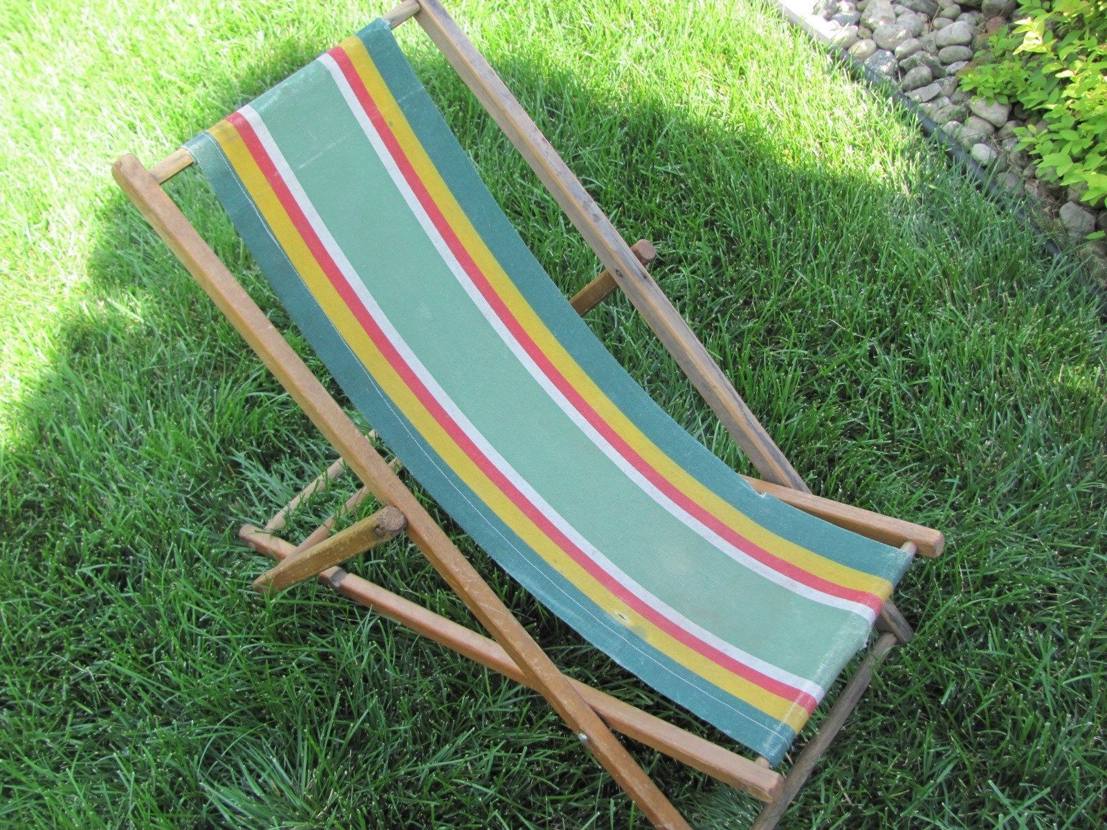 Canvas Sling Chair Wooden Glider Parts Vtg 1940 39s 1950 Childs Striped Folding