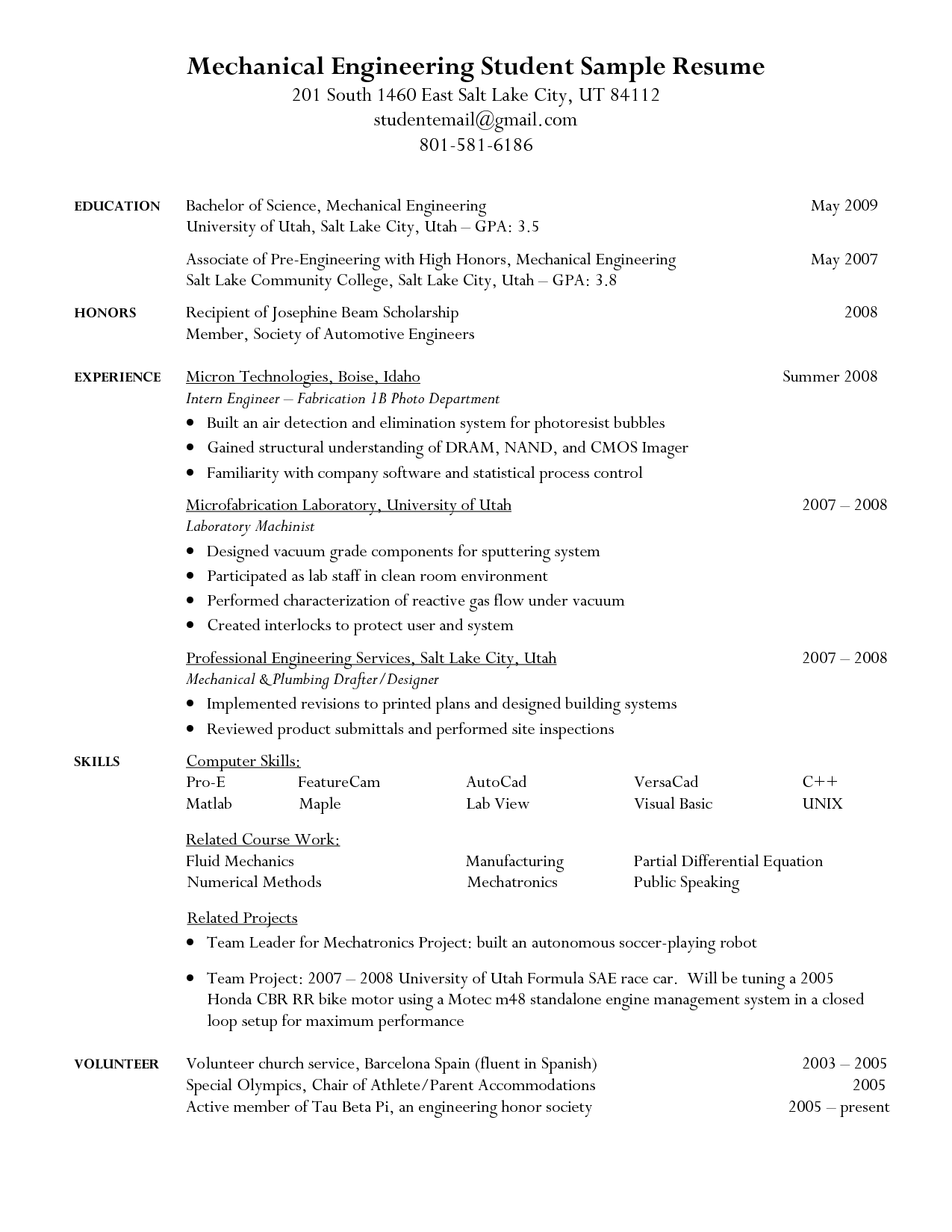 Resume Objective For Student Internship