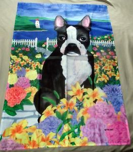 Beautiful Garden Flag Featuring Boston Terrier And Lighthouse With Flowers    Puppy Lovers This Garden Flag