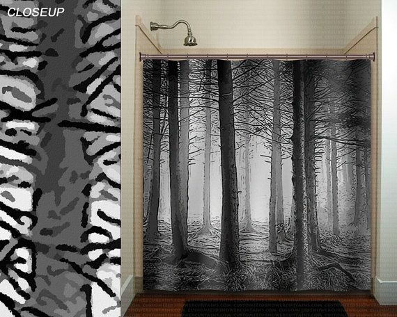 Forest Birch Tree Shower Curtain Extra Long Fabric Window Panel Kids Bathroom Decor Custom Valanc