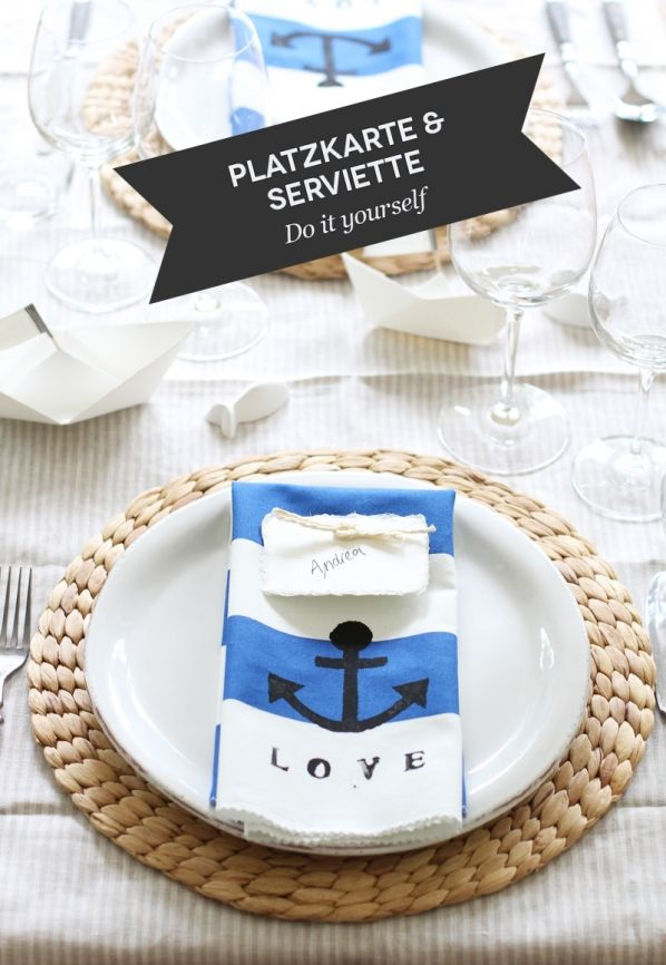 DIY Maritime Platzkarte mit passender bedruckter Serviette  Hochzeit  Maritim Hochzeit deko